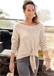 Cropped  view Tie Front Sweater
