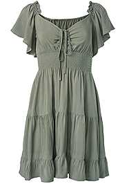 Ghost with background  view Flutter Sleeve Tiered Dress