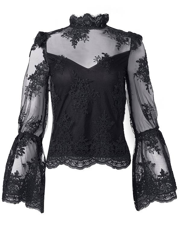 Ghost with background  view Lace Mock Neck Top