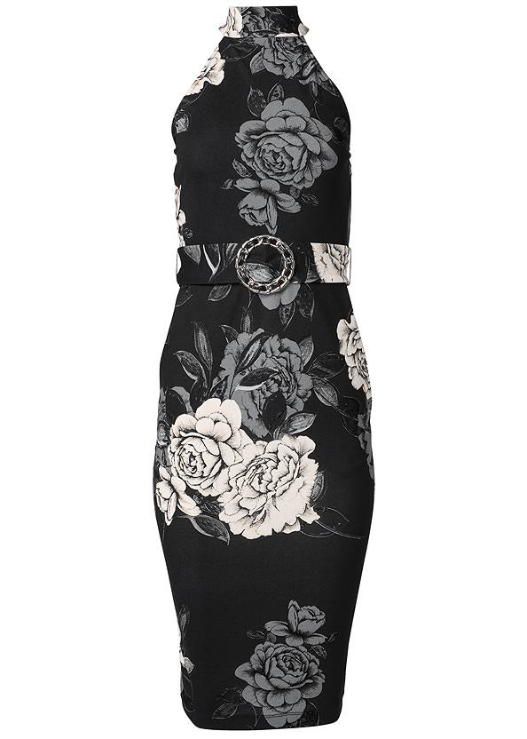 Ghost with background  view Mock Neck Floral Bodycon Dress