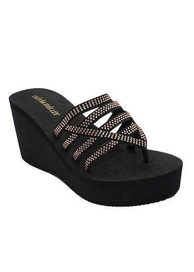 Beaded Comfort Wedge Sandal
