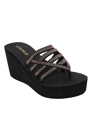 Beaded Comfort Wedge Sandal