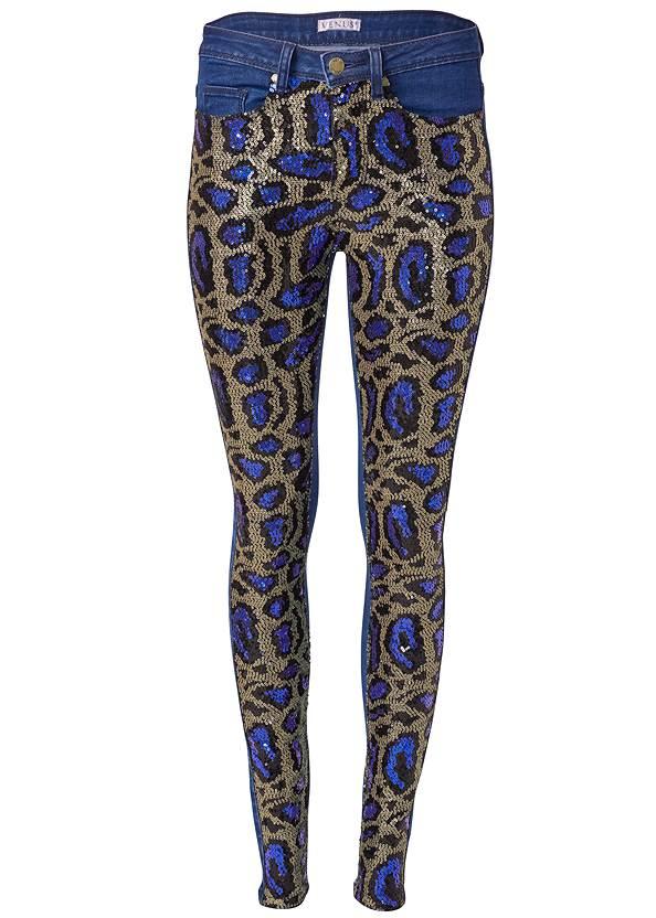 Alternate View Sequin Leopard Print Jeans