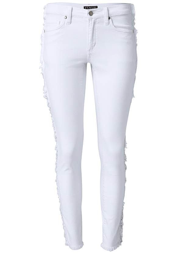 Alternate View Distressed Striped Jeans