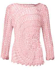 Alternate View Crochet Knit Bell Sleeve Sweater