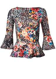 Alternate View Floral And Leopard Print Peplum Top