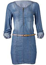 Alternate View Belted Chambray Mini Dress