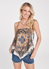 Front View Bandana Print Top