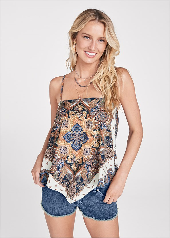 Bandana Print Top,Frayed Cut Off Jean Shorts,Strapless Bra With Geo Lace,Essential Espadrille Wedges,Stars Stones Layered Necklace