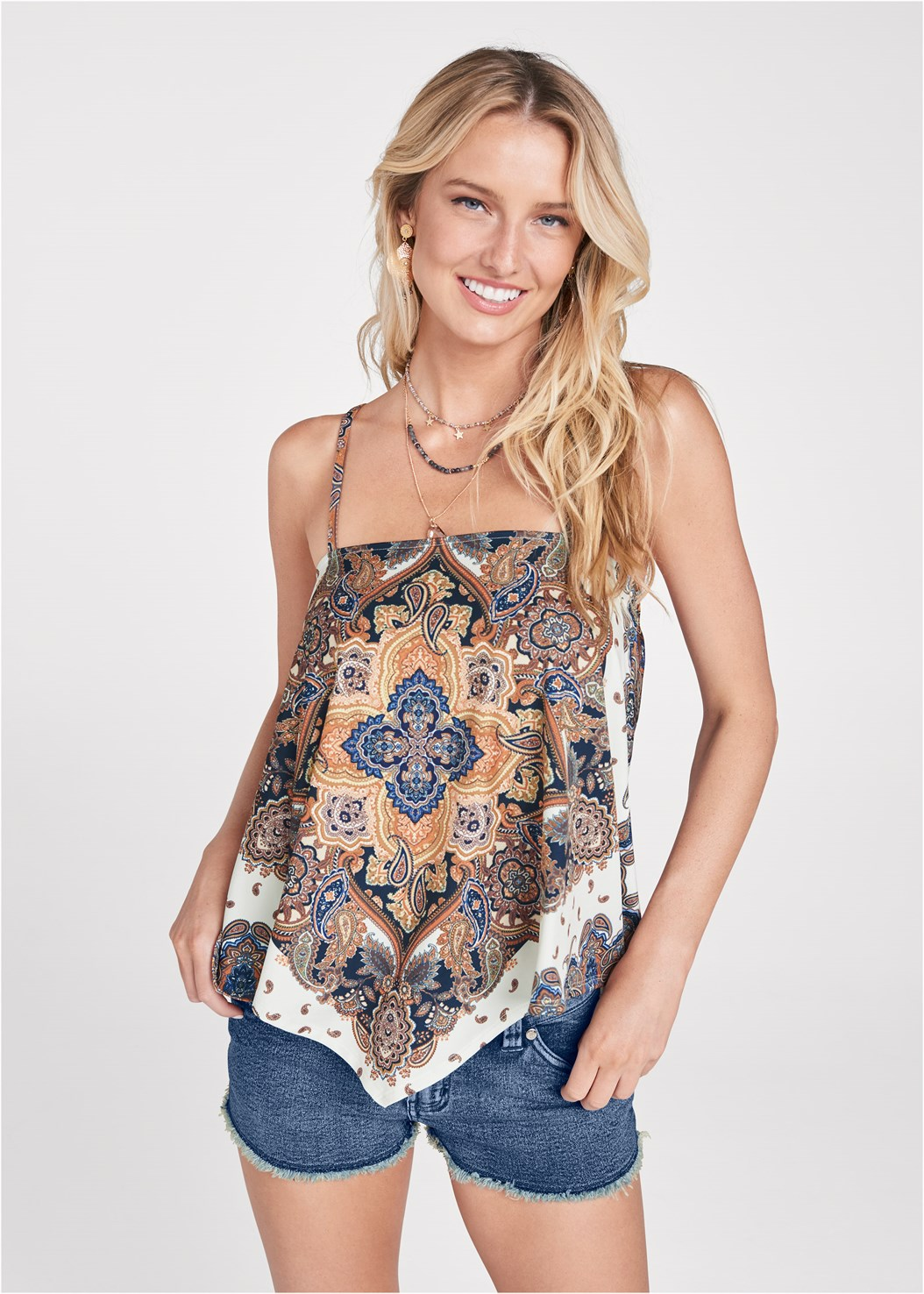 Bandana Print Top,Frayed Cut Off Jean Shorts,Essential Espadrille Wedges,Stars Stones Layered Necklace