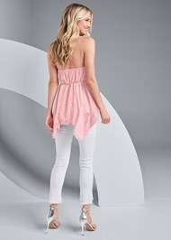 Full back view Lace Inset Mock Neck Top