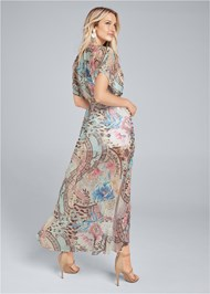 Back View Embellished Floral And Paisley Print Maxi Top
