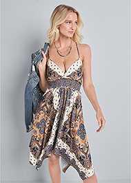 Front View Printed Handkerchief Dress