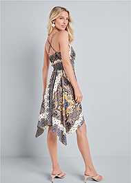 Back View Printed Handkerchief Dress