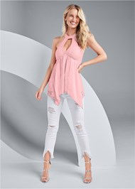 Full front view Lace Inset Mock Neck Top