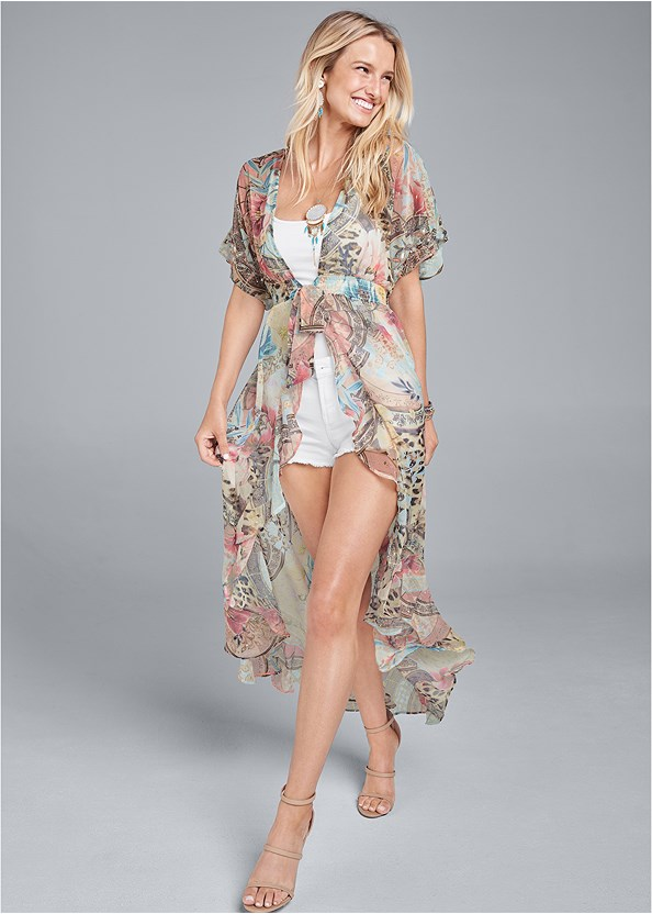 Embellished Floral And Paisley Print Maxi Top,Basic Cami Two Pack,Strappy Detail Top,Frayed Cut Off Jean Shorts,Triangle Hem Jeans,High Heel Strappy Sandals,Faux Leather Jewel Earring