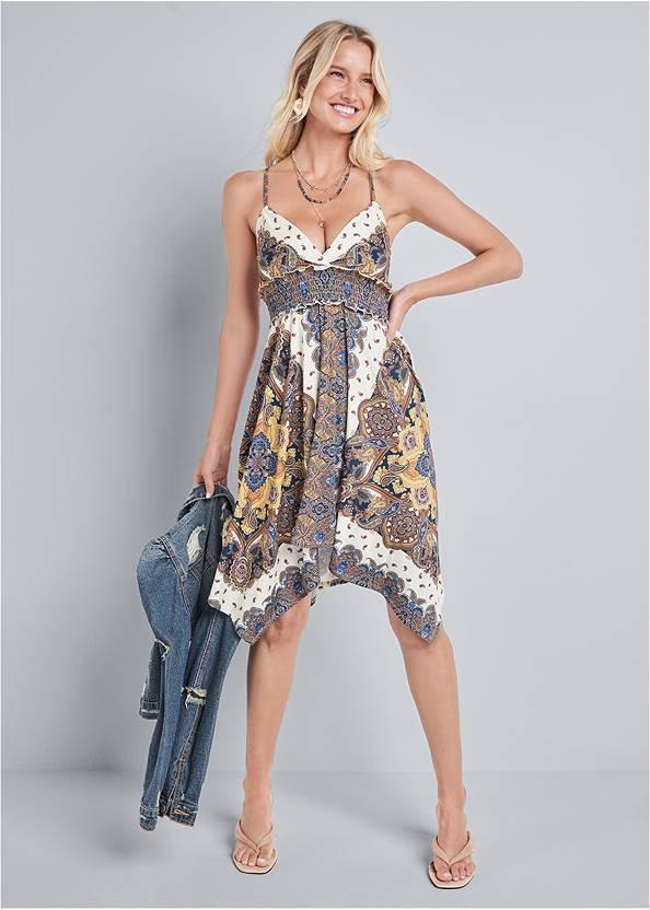 Alternate View Printed Handkerchief Dress