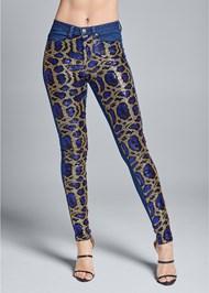 Front View Sequin Leopard Print Jeans