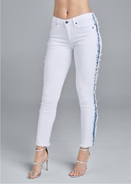 Front View Distressed Striped Jeans