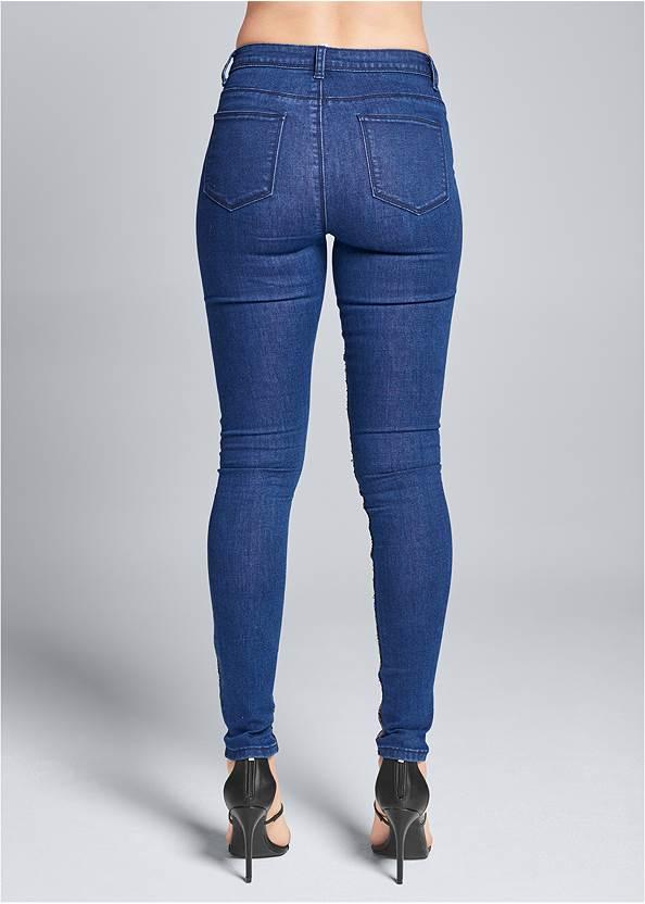 Back View Sequin Leopard Print Jeans