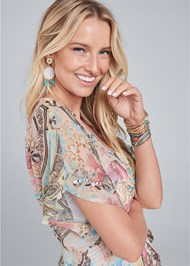 Alternate View Embellished Floral And Paisley Print Maxi Top