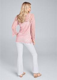 Back View Crochet Knit Bell Sleeve Sweater