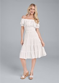 Full front view Off Shoulder Tiered Dress