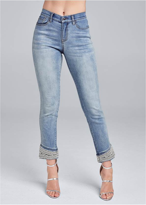 Front View Cropped Pearl Cuff Jeans