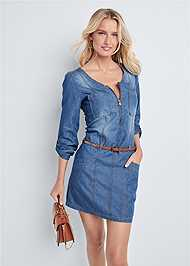 Front View Belted Chambray Mini Dress