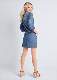 Back View Belted Chambray Mini Dress