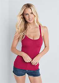 Front View Ribbed Basic Sleeveless Top