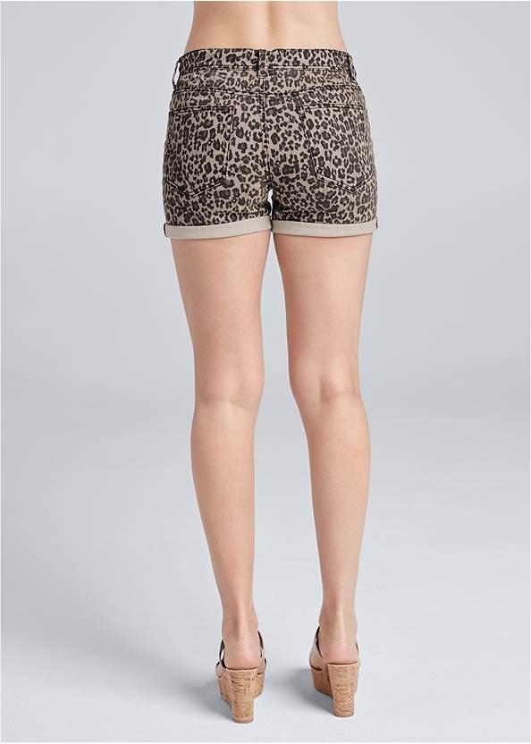 Back View Cuffed Leopard Jean Shorts