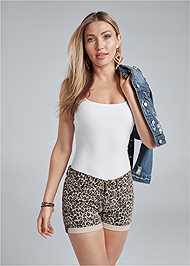 Front View Cuffed Leopard Jean Shorts
