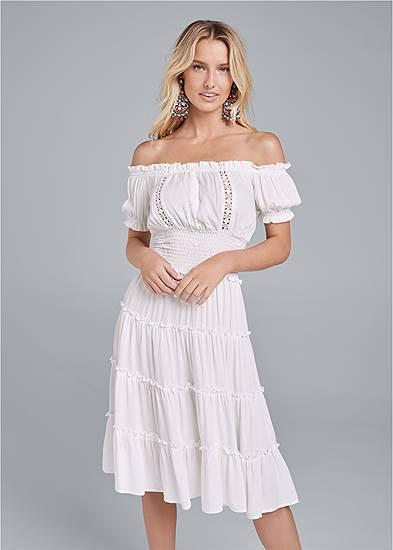 Off-Shoulder Tiered Dress