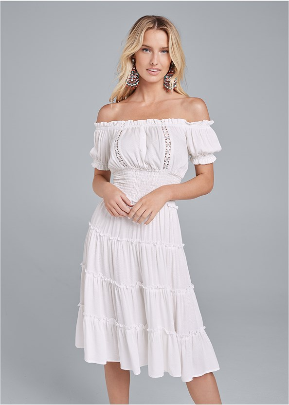 Off Shoulder Tiered Dress,Pearl™ By Venus Strapless Bra,Double Strap Cork Wedge