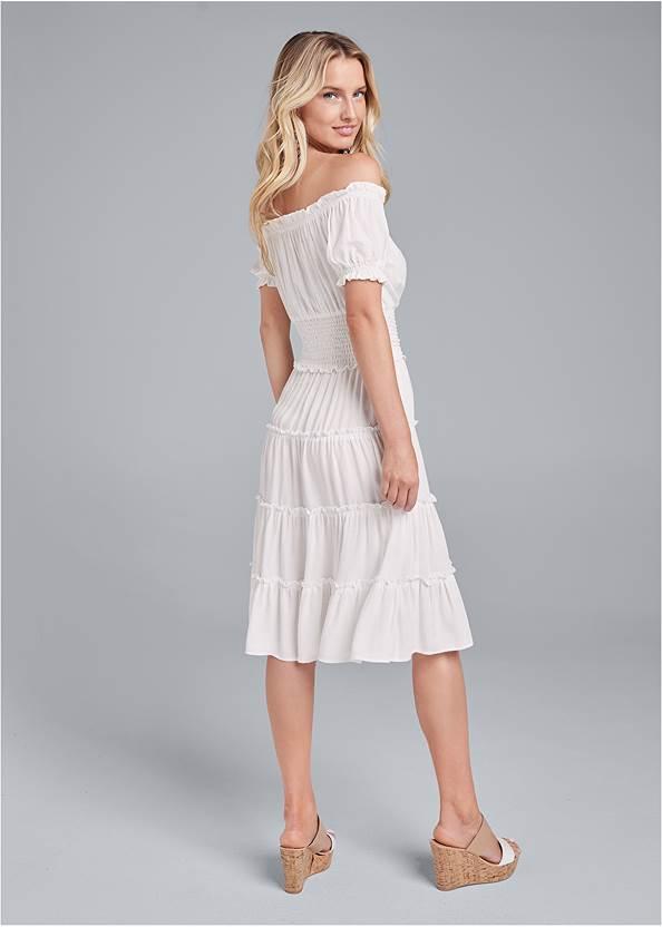 Full back view Off Shoulder Tiered Dress