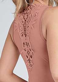 Detail back view Crochet Trim Ruched Maxi Dress