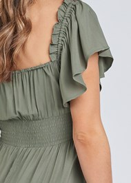 Detail back view Flutter Sleeve Tiered Dress