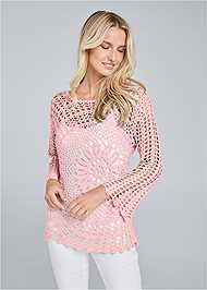 Front View Crochet Knit Bell Sleeve Sweater