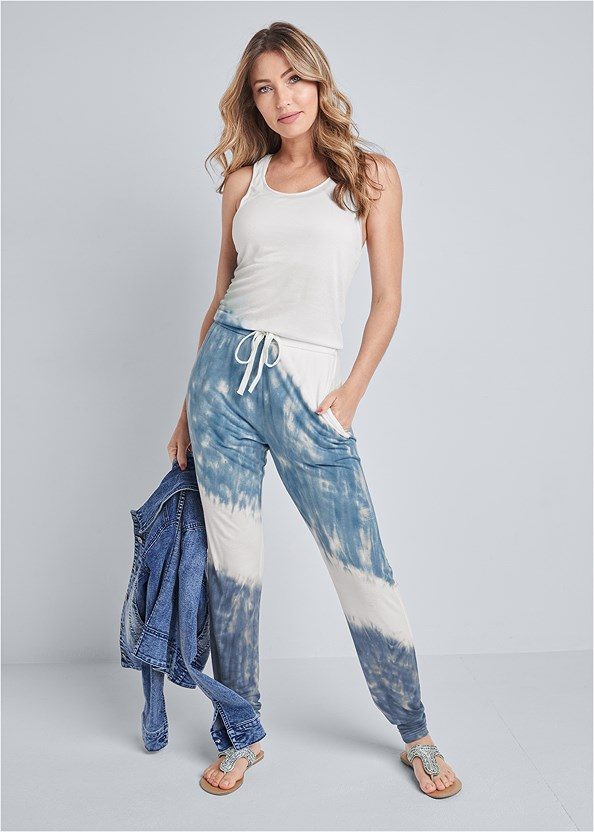 Ombre French Terry Jumpsuit,Jean Jacket