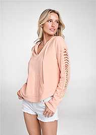 Front View Cut Out Sleeve Sweatshirt With Pearls
