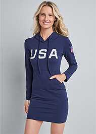 Front View U.S.A Hooded Lounge Dress