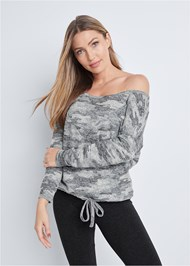 Front View Cozy Camo Off Shoulder Top