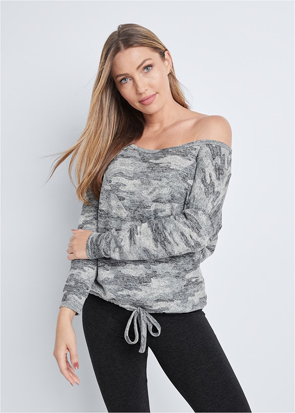 Cozy Camo Off Shoulder Top,Capri Legging Two Pack