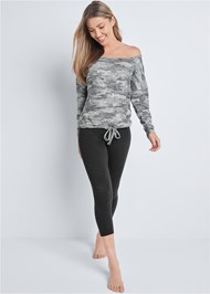 Full front view Cozy Camo Off Shoulder Top