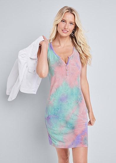 Tie Dye Button Front Lounge Dress