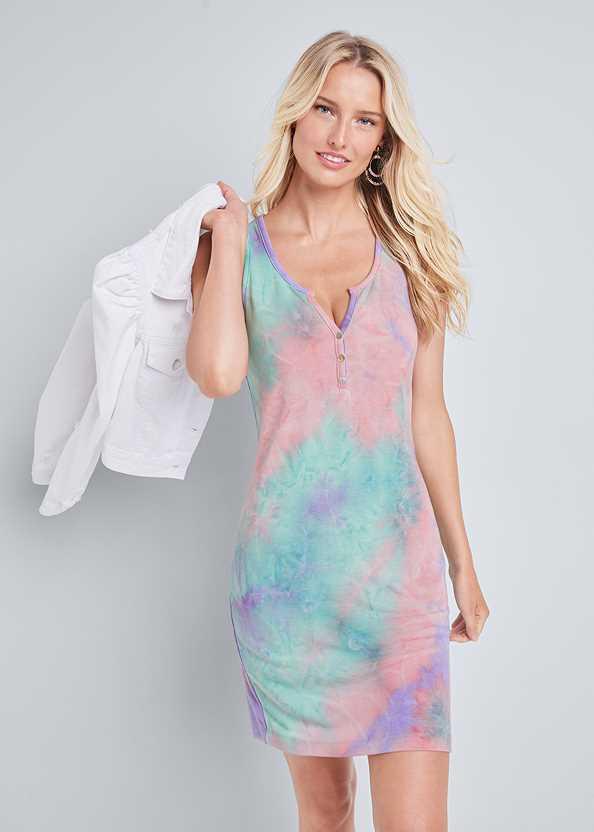 Tie Dye Button Front Lounge Dress,Cropped Puff Sleeve Denim Jacket,Jean Jacket