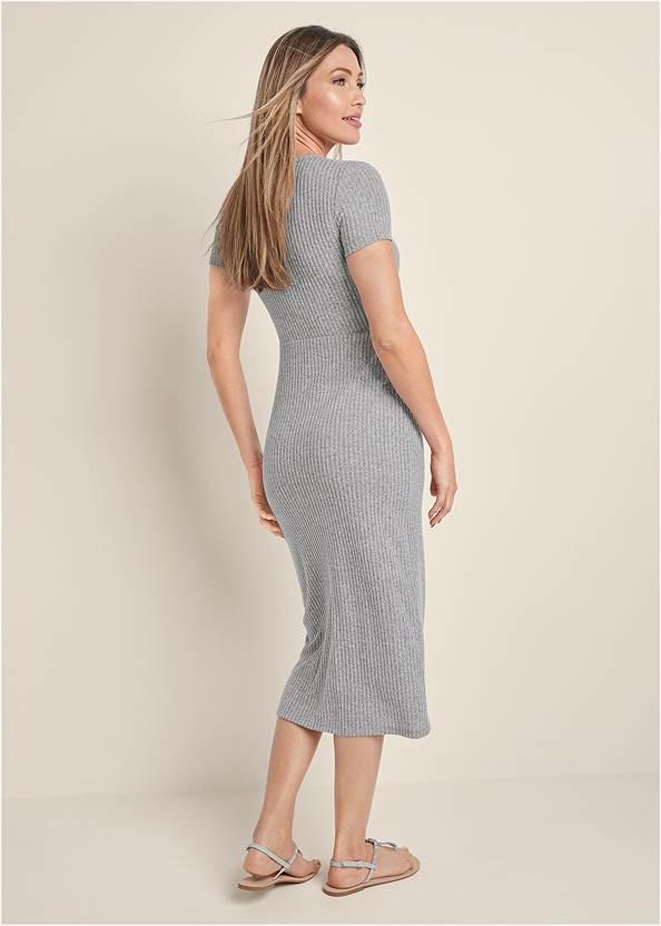 Back View Brushed Rib Knot Lounge Dress