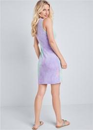 Full back view Tie Dye Button Front Lounge Dress