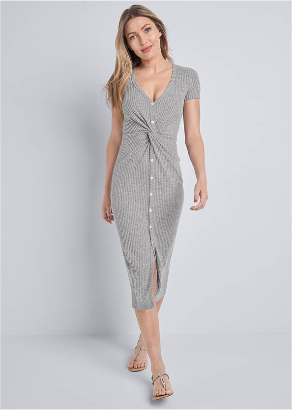 Front View Brushed Rib Knot Lounge Dress